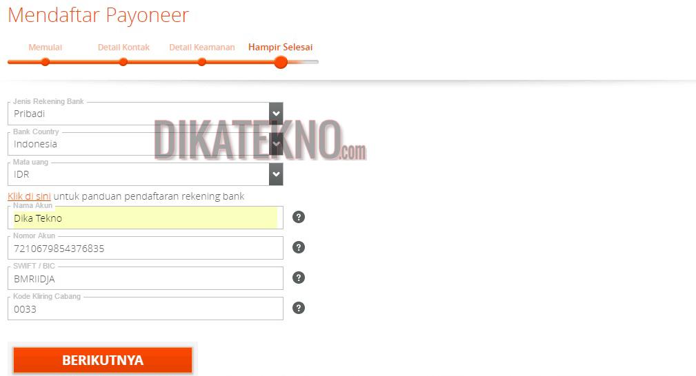 esuaikan dengan negara, pilih indonesia Tuliskan alamat lengkap anda susuai dengan KTP/Kartu identitas Isi dengan kota tempat anda tinggal Isi dengan kode pos anda Isi nomor telpon aktif anda Jika sudah selesai klik tombol berikutnya, dan kita akan masuk ke form berikutnya.