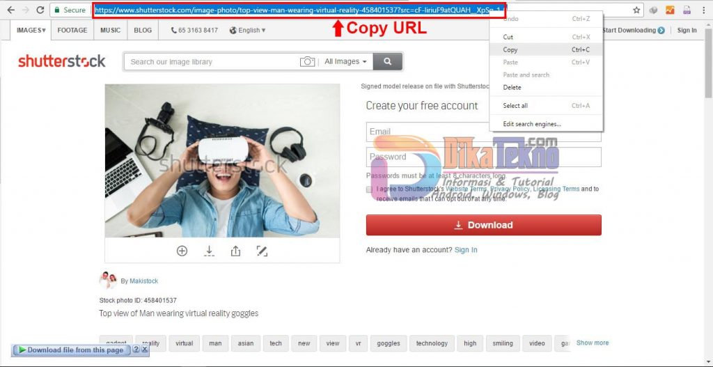 cara download di shutterstock gratis
