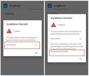Google installation blocked message